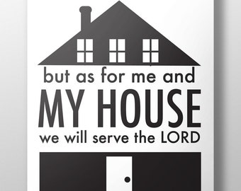 As for me and my house printable,Joshua 24:15,As for me and my house,As for me and my house print,Christian home decor,House warming,#L104