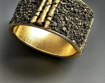Sticks & Stones Pyrite Hinged Cuff