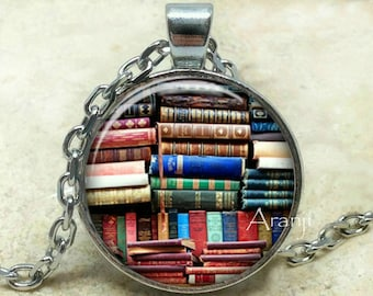 Book art pendant, book necklace, book jewelry, books, library necklace, library pendant, bookshelf necklace, Pendant #HG152P