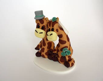 Bride and Groom Giraffe Wedding Cake Toppers // With Top Hat & Veil // Ready To Go