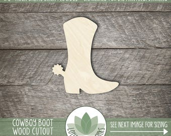 Cowboy Boot Wood Laser Cut Shape, Wooden Western Cowboy Boot Cutout, Many Size Options, Unfinished Wood For DIY Projects, Wood Sign Supplies