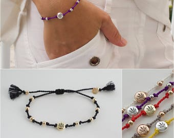 Cannabis wickelbar - einstellbare Marihuana Armband - 420 Seide Armband - Topf Perle Armband - Blatt Armband-Weed-