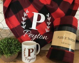 Buffalo Plaid Blanket - Personalized Plaid Throw and Mug Gift  - Buffalo Plaid Fleece with matching mug - Gift for her