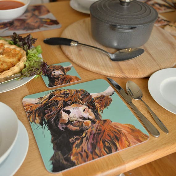 4 X Highland Cow Placemats And Coasters Country Kitchen