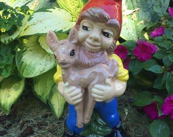 1989 Vintage Garden Gnomes Dwarf Elves hand-painted garden gnome for Fairy Garden
