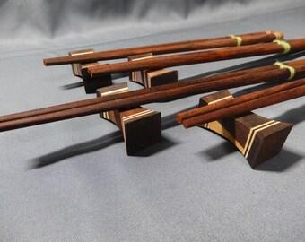 Chopstick and Hashioki Set Place Setting for 4  Wood Box Set