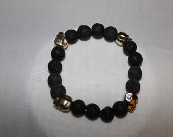 Lava Stone Skull Bracelet