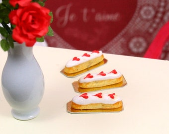 French Valentine's Eclair - White...Red Heart - 12th Scale Miniature Food