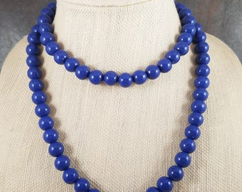 Long Bead Necklace, Blue, Beaded, Royal Blue, Navy, Rope Necklace, Long Necklace, Necklace, Gumball Necklace, Strand, Layering Necklace