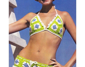 Crochet Bikini Pattern Granny Square Hippie Bikini Crochet Pattern Womens Swimsuit Pattern Instant Download PDF - C18
