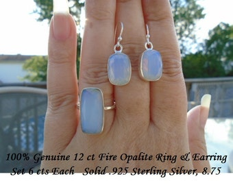 Genuine 24 ct Fire Opalite Ring & Pendant Set