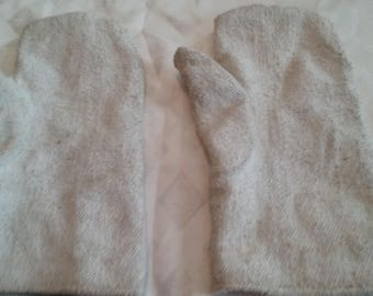 Vintage White Fireman Gloves/Mittens/Antique/Primitve Work Gloves/Polyester