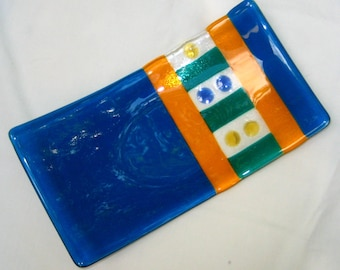 Blue Glass Plate, Fused Glass Sushi Plate, Glass Sushi Platter, Fused Glass Platter --Contempo Rainbow