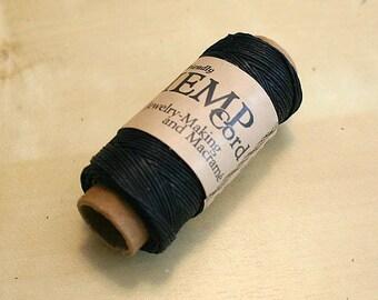 Hemp Cord Black Polished 0.5mm 100 Feet 20 Pound Test