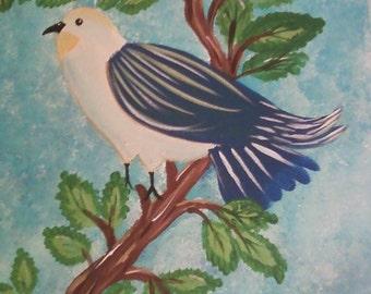 Original acrylic painting on canvas of  The Blue Bird