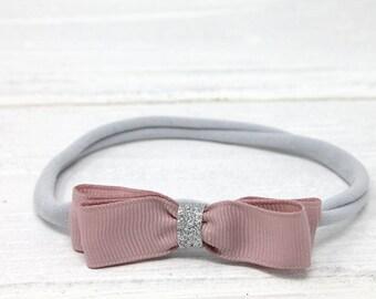 Dusky pink and grey baby headband handmade in the UK nylon skinny elastic newborn photography prop
