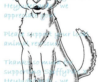 Digital Stamp or Coloring Page - Labrador front facing - A portion of every sale to RESCUES!!!