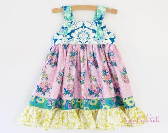SOPHIE KNOT Dress, Vintage Floral Dress, Girls Birthday Dress, Pink Blue Yellow Floral Dress for Girls Sizes  2T, 3/4T, 5/6, 7/8