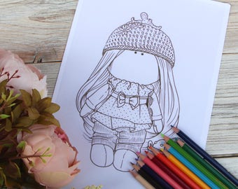 Coloring doll Coloring page Printable Drawing Instant download coloring pages kids Digital File Coloring children Beautiful doll pencils