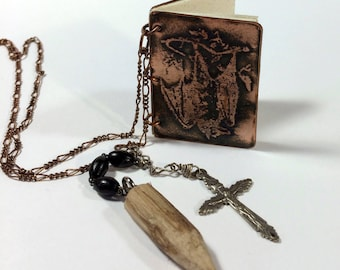 Vampire Necklace, Dracula Bat Necklace, Tiny Journal Necklace - Free Domestic Shipping