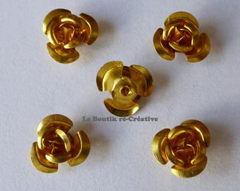 Lot 25 beads spacers gilded gold 12mm aluminum flower
