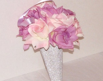 Wedding aisle Decoration cone church pew decoration lavender and pink