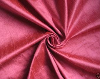"Rose Pink 100% dupioni silk fabric yardage By the Yard 45"" wide"
