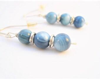 Blue - Womens Gift - Beaded Jewelry - Drop Earrings - Sister Gift - Sterling Silver - Earrings - Sister Birthday Gift - Handmade Jewelry