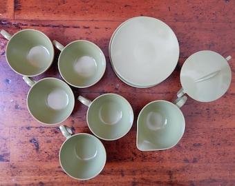 Vintage Melamine Dish Set, Olive Green Melamine Dinnerware