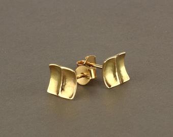 Gold square earrings, gold post earrings, solid gold stud earrings, 14k gold studs