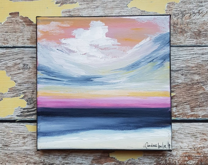 "Seascape Canvas Art | Coastal Painting | Ocean Art | Beach Decor | 6x6 | ""Windswept Shore"" 