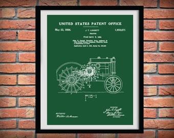 1931 John Deere Tractor Patent Print - Art Print - Farm Poster - Agriculture Decor - Farming - Farm Equipment Patent - Farmhouse Decor
