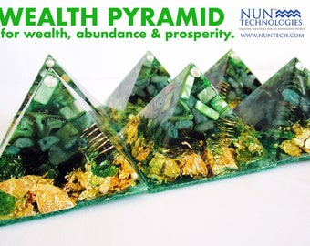 Money Pyramid/Crystal Orgonite Orgone Pyramid  For Attracting Wealth, Abundance and Prosperity  By DR NEB HERU/Citrine/ Buy 2 Get 1 Free