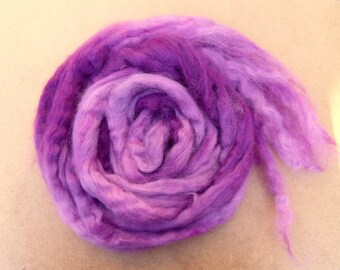 Hand Dyed Wensleydale Wool Tops, spinning, felting, fibre arts, purple, pink, 105g