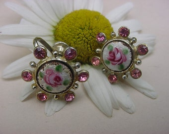 Vintage Guilloche Hand Painted Roses Enamel Pink Rhinestone Earrings Screwback