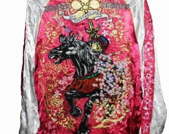SUKAJAN SAMURAI WARRIOR skull embroidery japan souvenir rayon jacket reversible