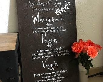 Wedding menu Board