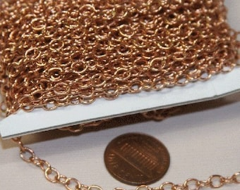 32ft spool of Rose Gold Plated Round Cable Chain 4X5mm - Soldered Links