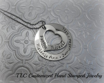 Personalized Hand Stamped Heart and circle Family Necklace or Key chain.