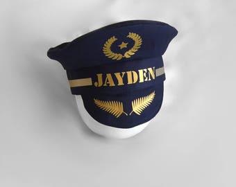 Personalised  Baby Pilot hat, Pilot theme photoprop, baby Pilot