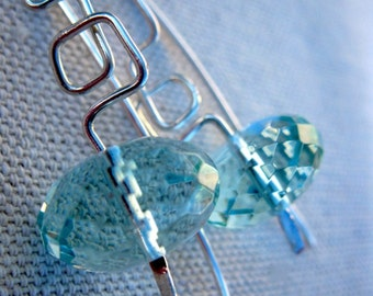Drop Earrings. ICE. pale aqua faceted glass and silver drop earrings