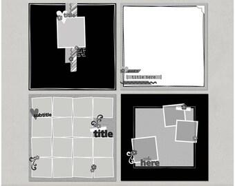 Sample Pack 12 - 12x12 Digital Scrapbooking Templates