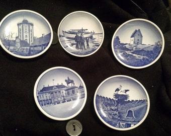 5 Vintage Decorative Blue and White Mini Plates Made in Denmark & Mini plates | Etsy