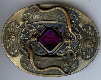 ART NOUVEAU ANTIQUE amethyst look purple faceted glass snakes & flowers sash pin