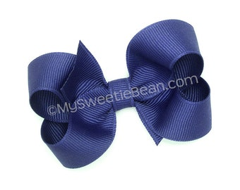 "Royal Blue Hair Bow, 3 inch Boutique Bow, Toddlers No Slip Bow, 3"" Bow for Baby Girls, Queen's Blue, Dark Royal Blue Medium Grosgrain Bow"