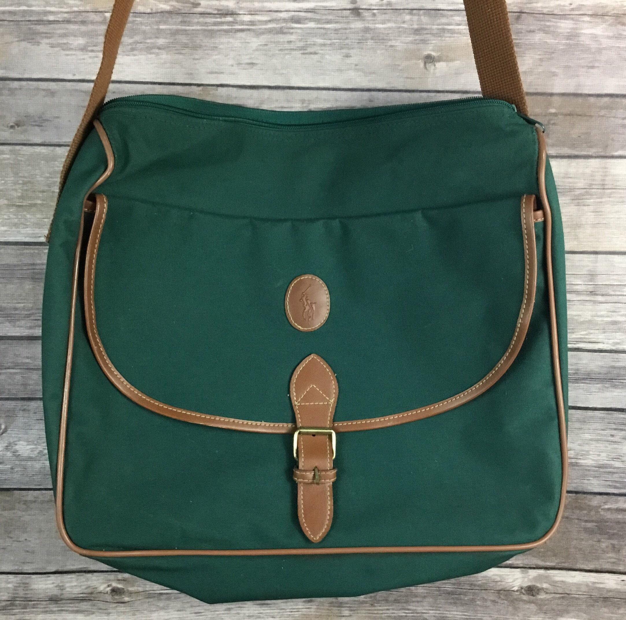 f5308402f39 ... free shipping description. vintage polo ralph lauren classic green tan  messenger bag 95459 21ee6