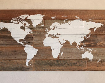 Wood map of the world – World map wall art – Push pins to mark travel – Travel lovers wall décor – Global décor – Rustic barn wood – 37x20