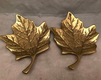 "Pair of Vintage Solid Brass Leaves Trinket Dishes - Made in India - 5.75"" x 5.25"""