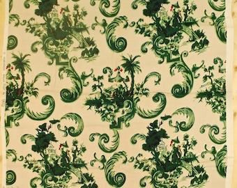 "Vintage 1940's/50's Barkcloth Fabric / 43"" x 52"" / Asian Castle Print / Retro Collectable Rare"