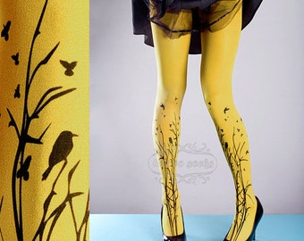 Tattoo Tights -  yellow one size Forest Symphony full length closed toe printed tights pantyhose, tattoo socks, printed nylons